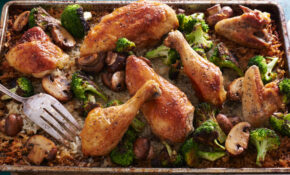 Simple Whole Roasted Chicken With Broccoli Mushroom Rice – Chicken Recipes Roasted