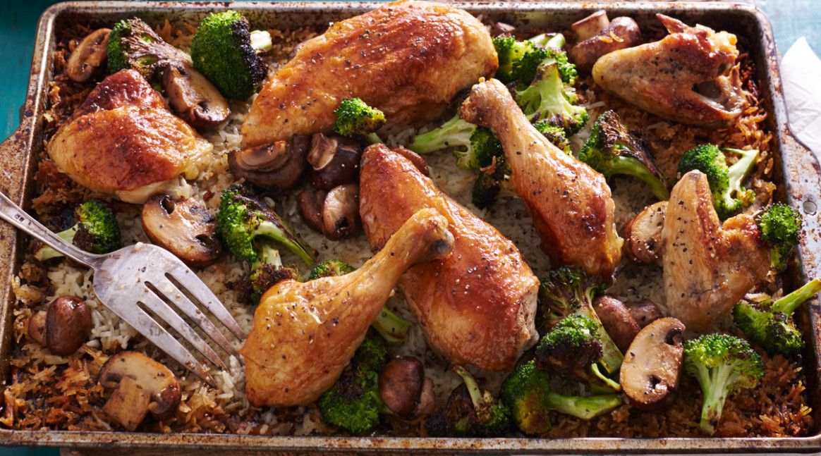 Simple Whole Roasted Chicken with Broccoli-Mushroom Rice - chicken recipes roasted