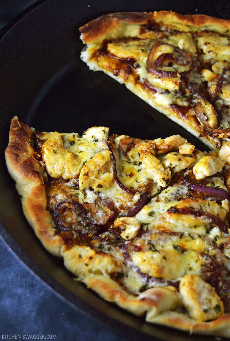 Skillet BBQ Chicken Pizza Recipe | Kitchen Swagger - recipes with chicken breast