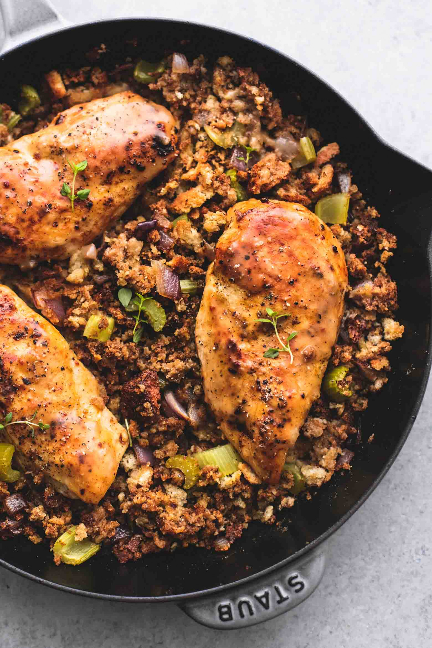 Skillet Chicken and Stuffing | Creme De La Crumb - quick chicken thigh recipes