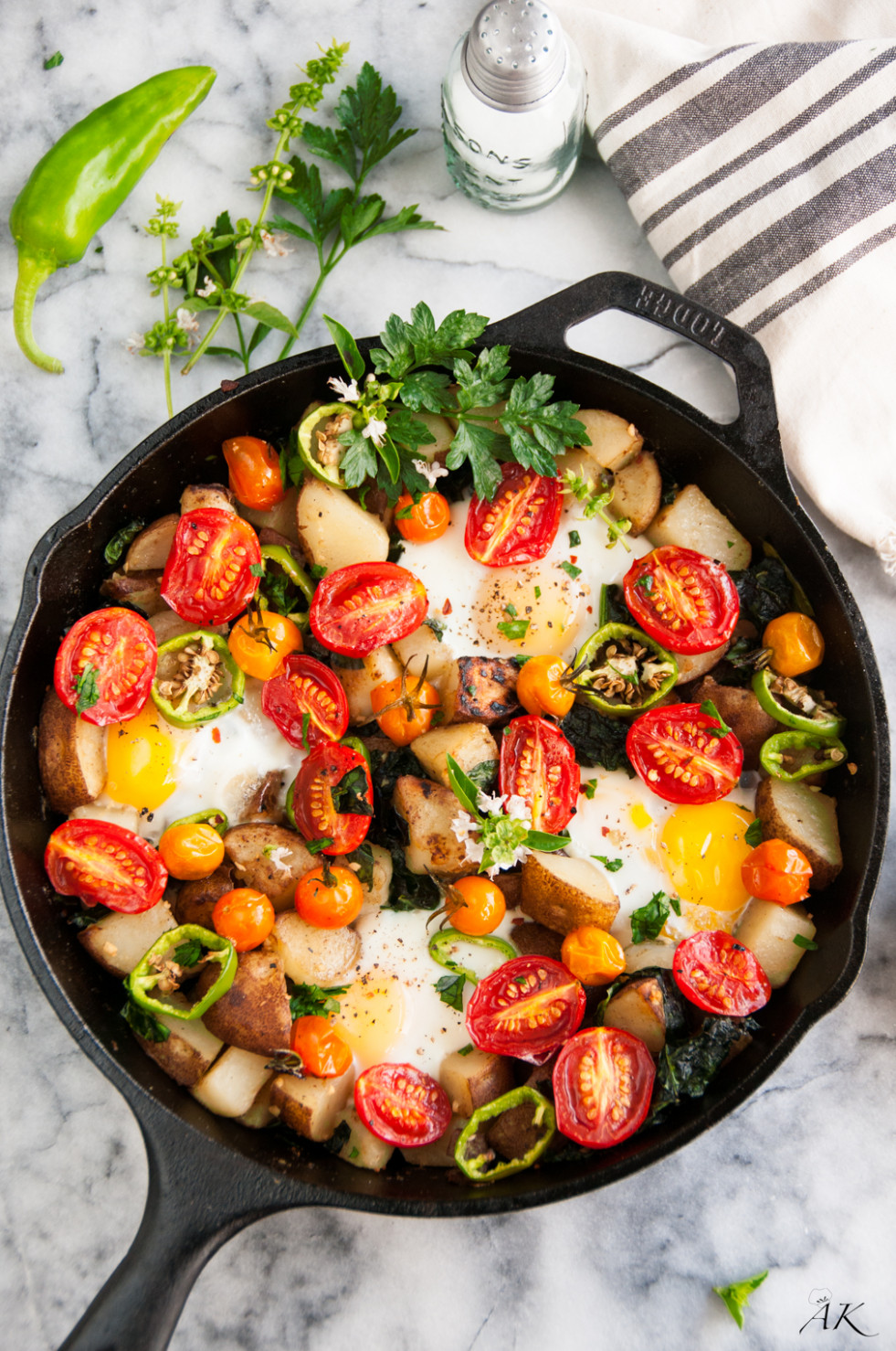 Skillet Eggs And Potato Garden Breakfast - Aberdeen's Kitchen - Egg Recipes Dinner Healthy
