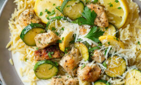 Skillet Lemon Parmesan Chicken Zucchini and Squash - Recipes