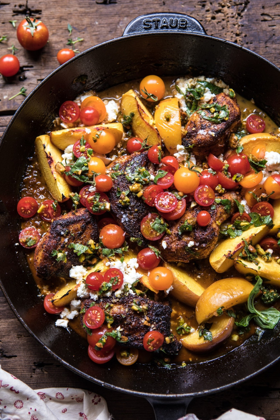 Skillet Moroccan Chicken with Tomatoes, Peaches, and Feta - moroccan food recipes