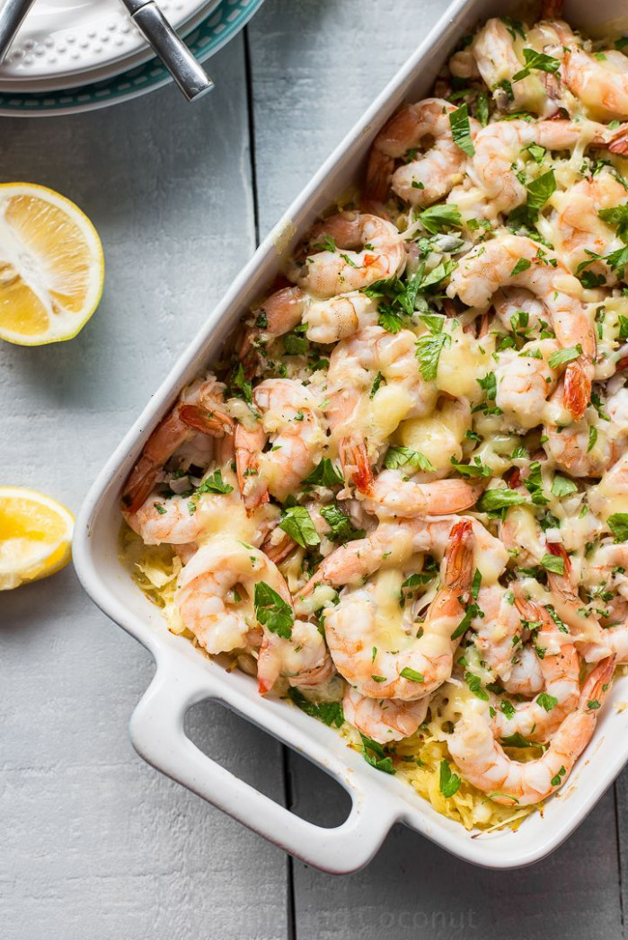 Skinny Baked Shrimp Scampi with Spaghetti Squash | Recipe ..