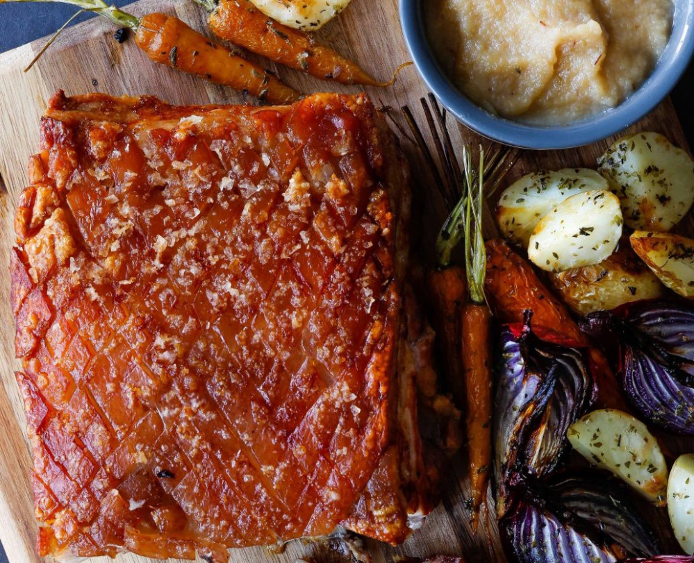 Skinnymixer's Roast Pork Belly With Caramelised Apple Sauce - Thermomix Recipes Dinner
