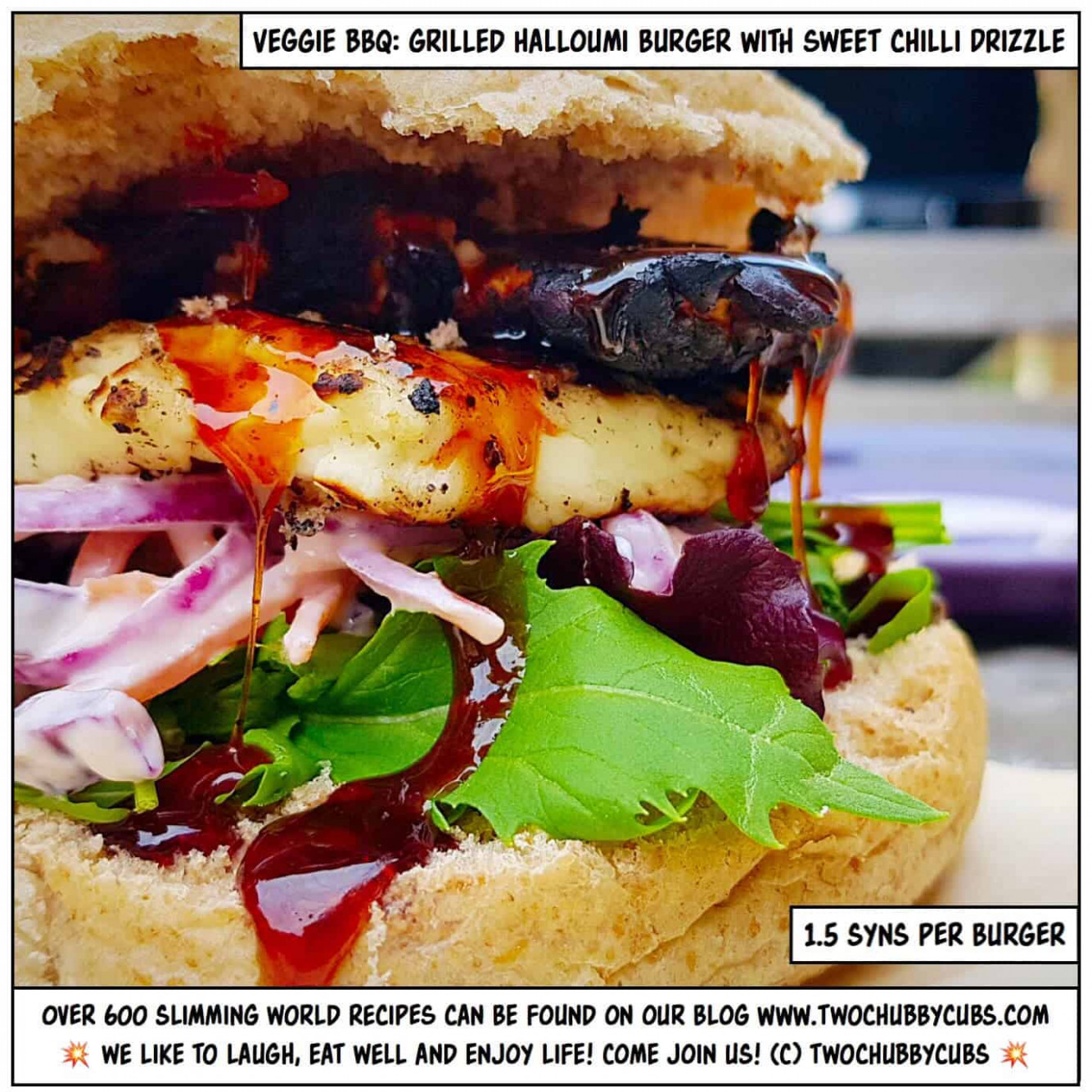 Slimming World halloumi burgers with sweet chilli drizzle - slimming world recipes vegetarian