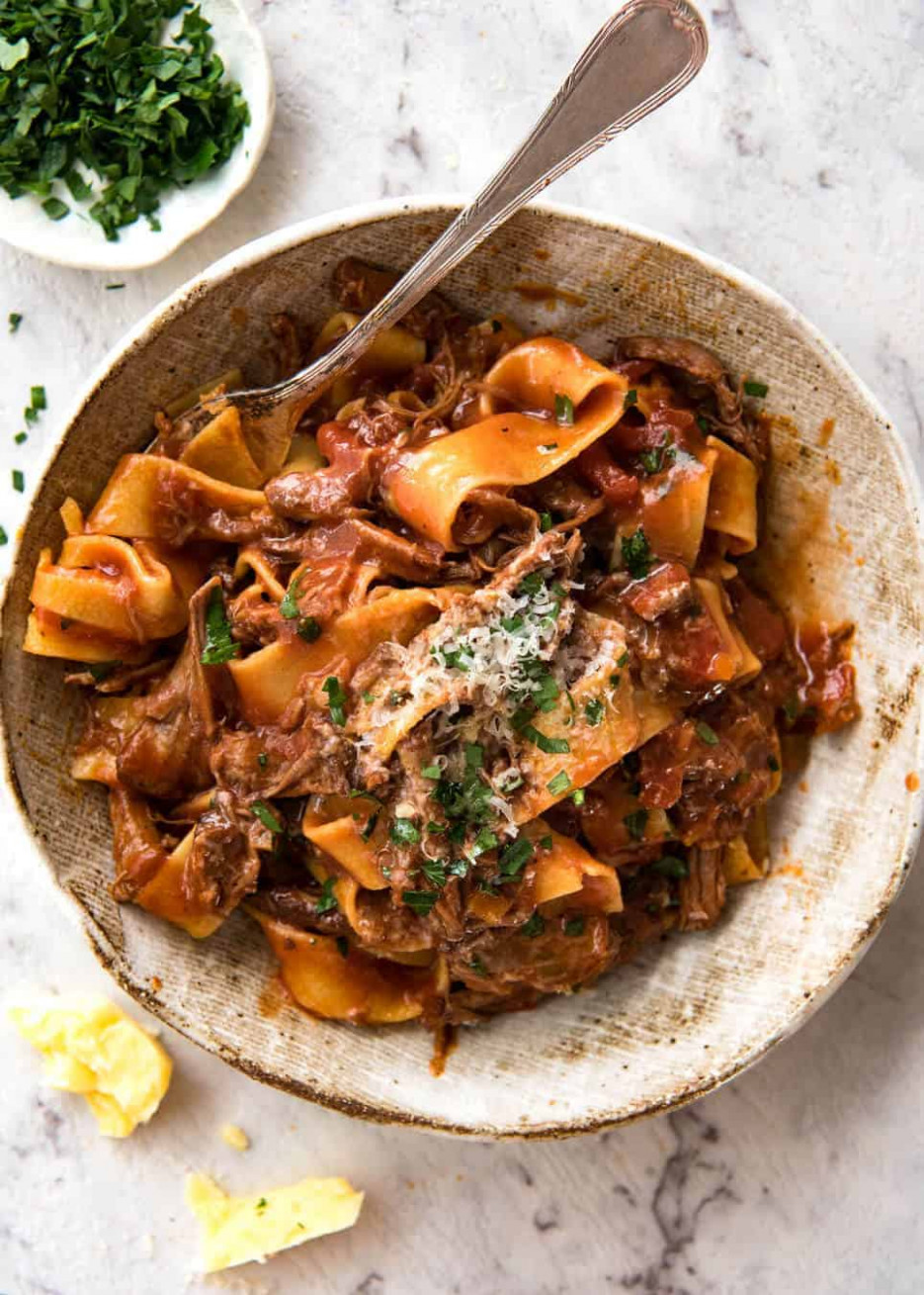 Slow Cooked Shredded Beef Ragu Pasta - Food Recipes Beef