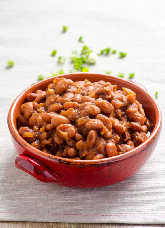 Slow Cooker BBQ Baked Beans - iFOODreal - recipes vegetarian baked beans