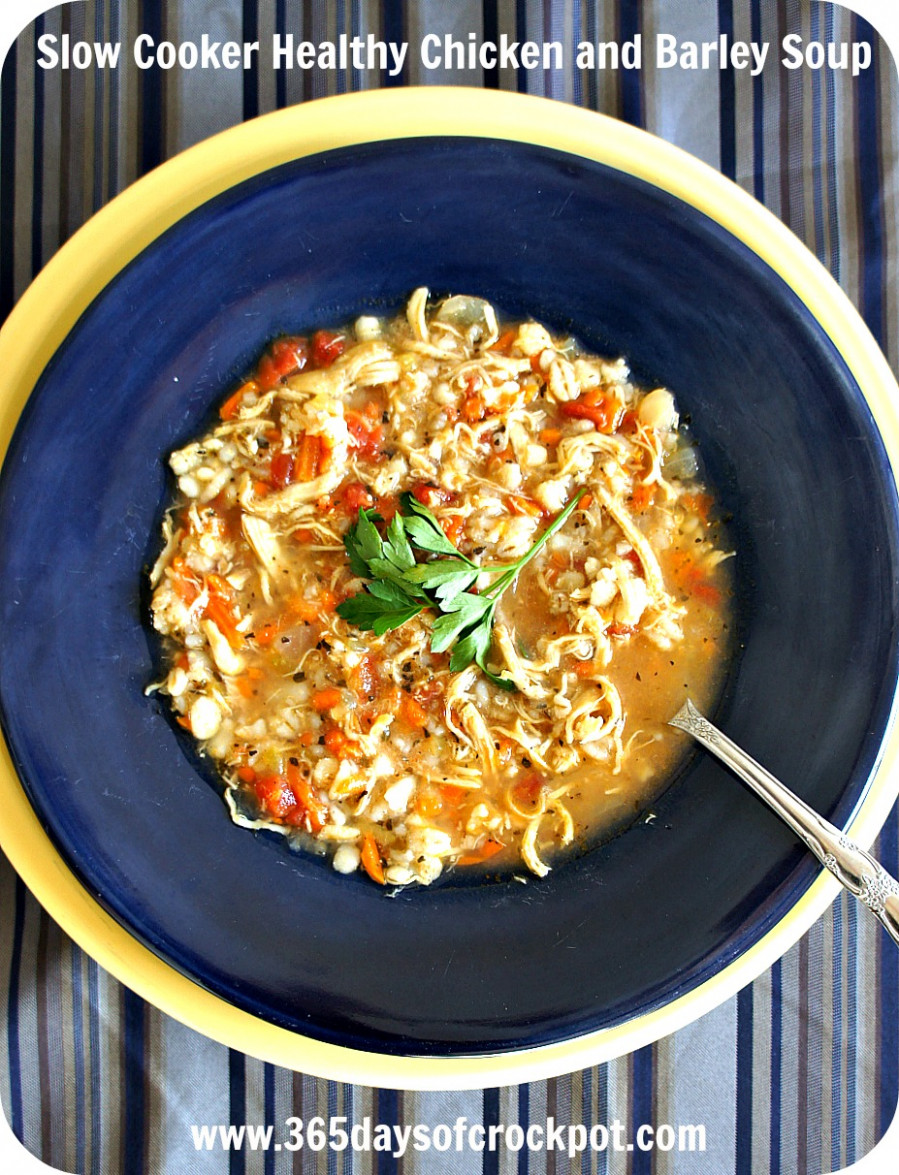 Slow Cooker Chicken Barley Soup - healthy chicken recipes in the crockpot