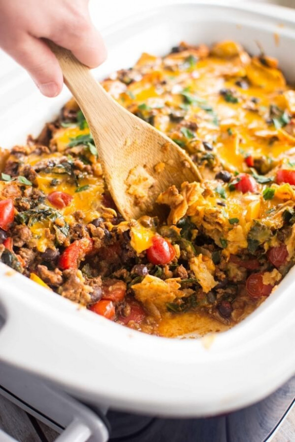 Slow Cooker Healthy Taco Casserole - Slow Cooker Gourmet - healthy recipes ground beef casserole