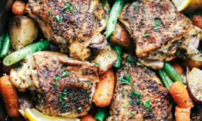Slow Cooker Lemon Garlic Chicken Thighs And Veggies – Whole Chicken Slow Cooker Recipes With Vegetables