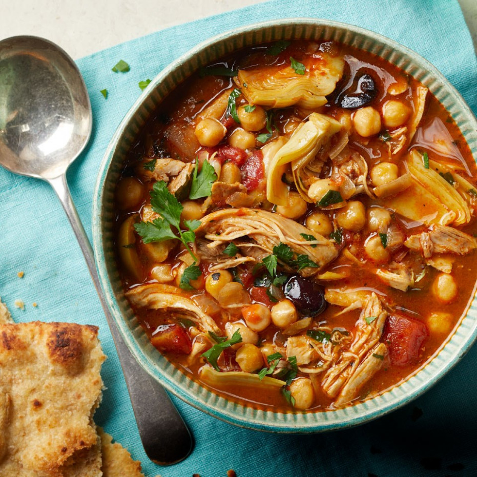 Slow-Cooker Mediterranean Chicken & Chickpea Soup - mediterranean recipes chicken