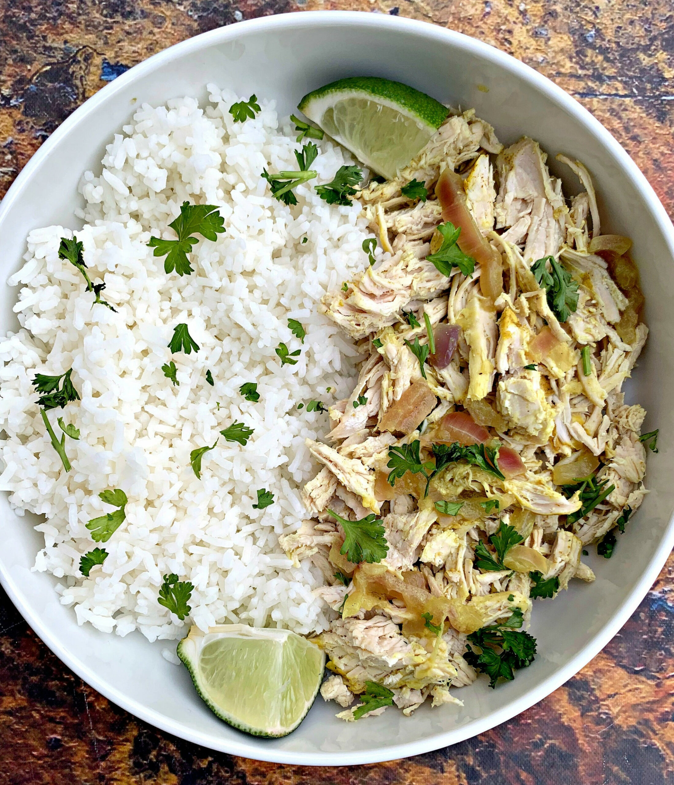 Slow-Cooker Shredded Chicken and Curry Rice Bowls - recipes using shredded chicken