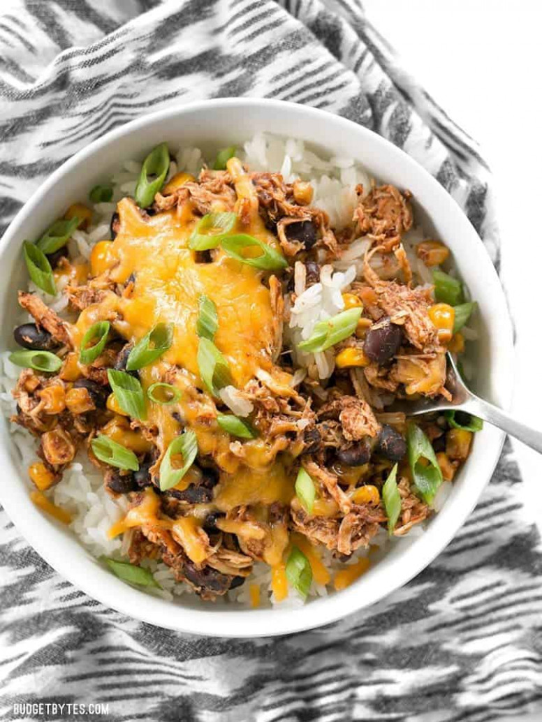 Slow Cooker Taco Chicken Bowls - Budget Bytes - Chicken Recipes Cheap