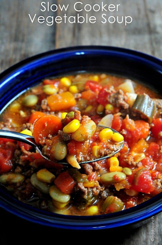 Slow Cooker Vegetable Soup Recipe - Add a Pinch - vegetarian recipes you can add meat to