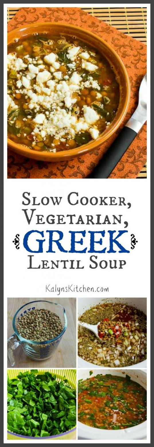 Slow Cooker Vegetarian Greek Lentil Soup with Tomatoes ..