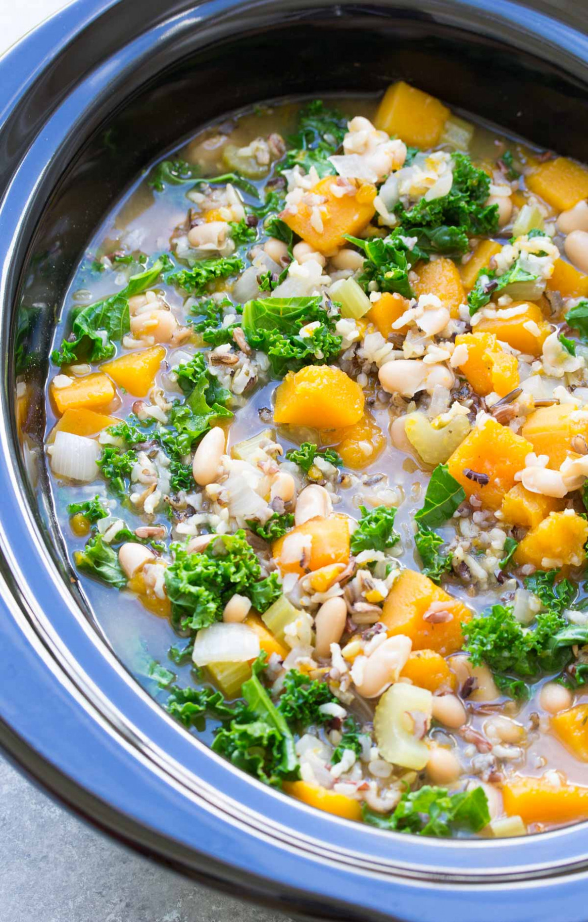 Slow Cooker Wild Rice Vegetable Soup - great vegetarian recipes