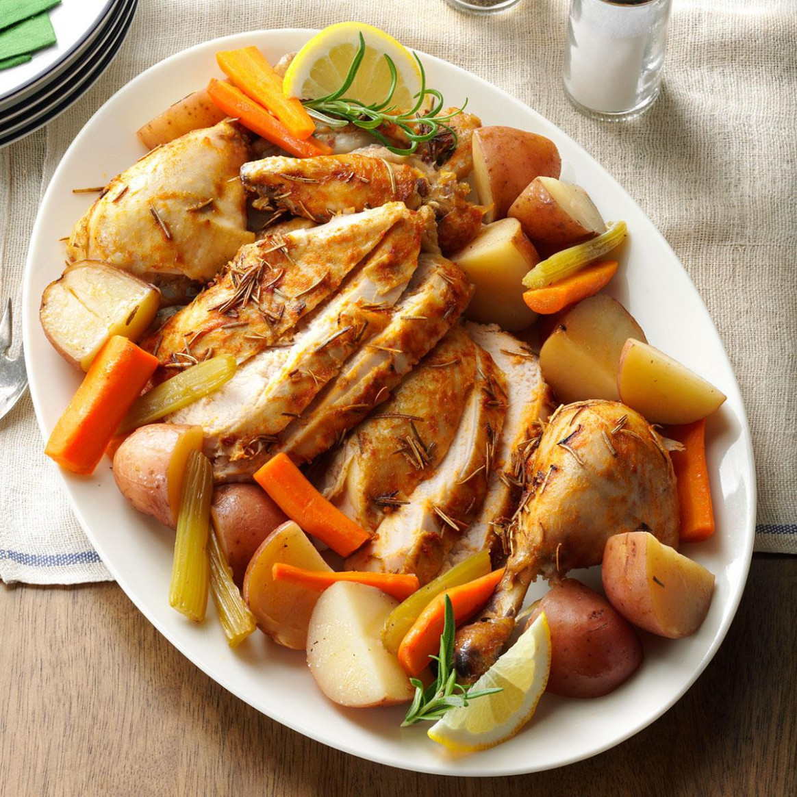 Slow-Roasted Chicken with Vegetables Recipe | Taste of Home - chicken recipes vegetables