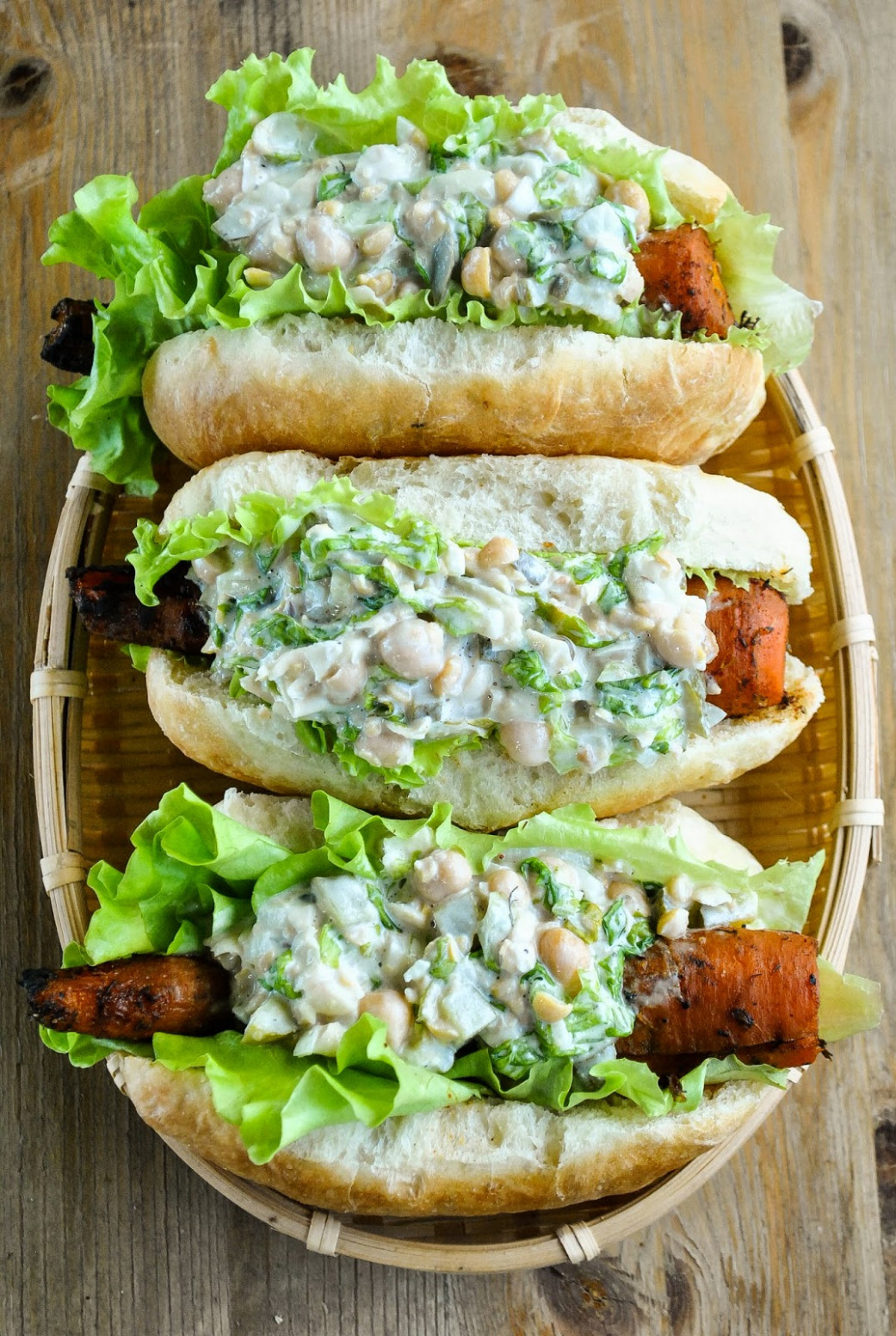 Smoky Barbecue Carrot Hot Dogs With Creamy Chickpea Salad ..