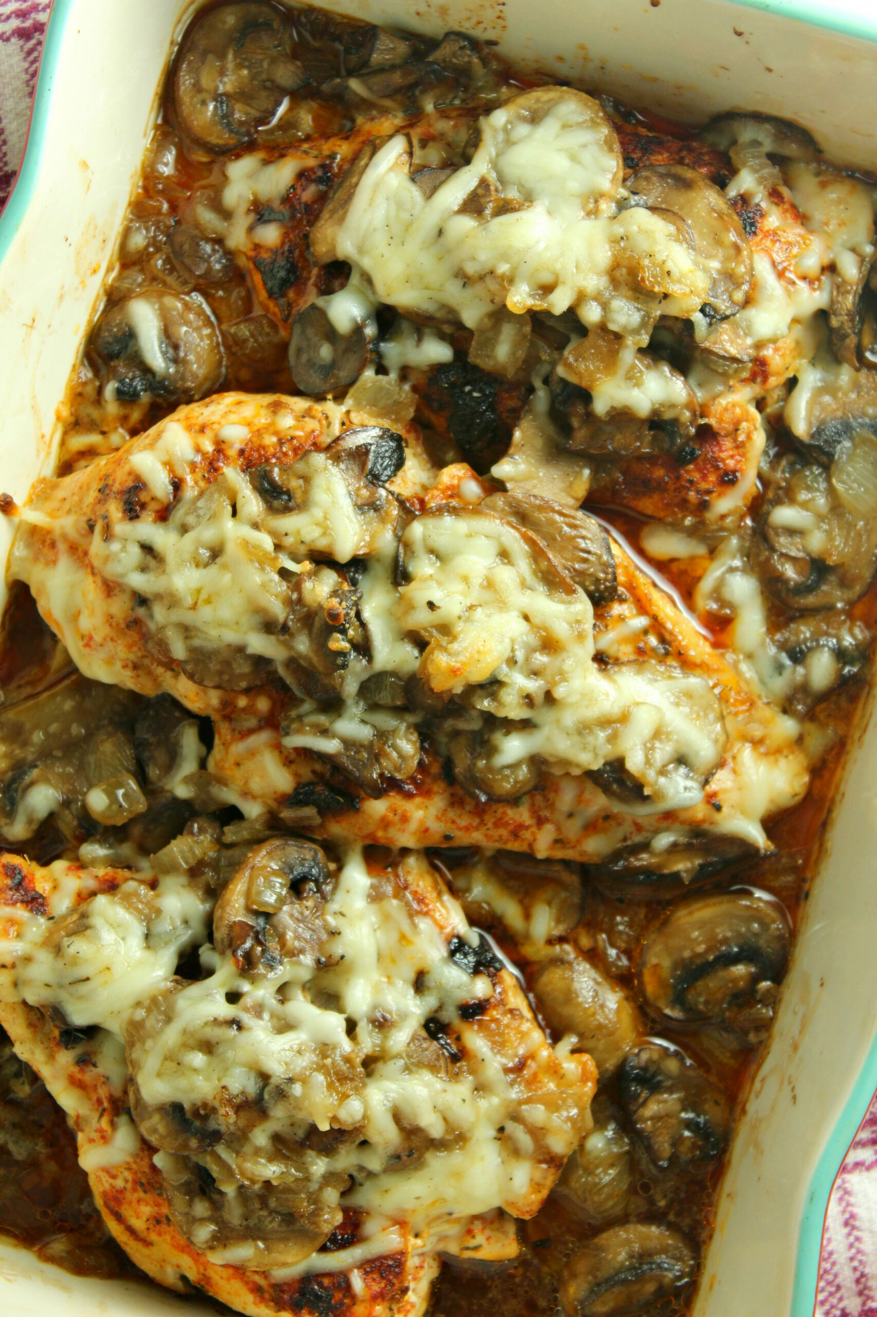 Smothered Cheesy Baked Chicken with Mushrooms (Low Carb) - chicken recipes with mushrooms