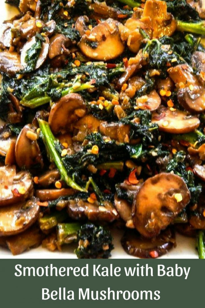Smothered Kale with Baby Bella Mushrooms - healthy recipes with mushrooms