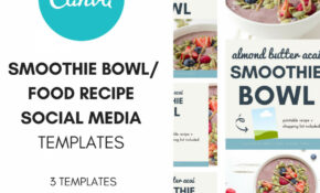 Social Media Canva Template: Smoothie Bowl/Recipe Template – Food Recipes Template