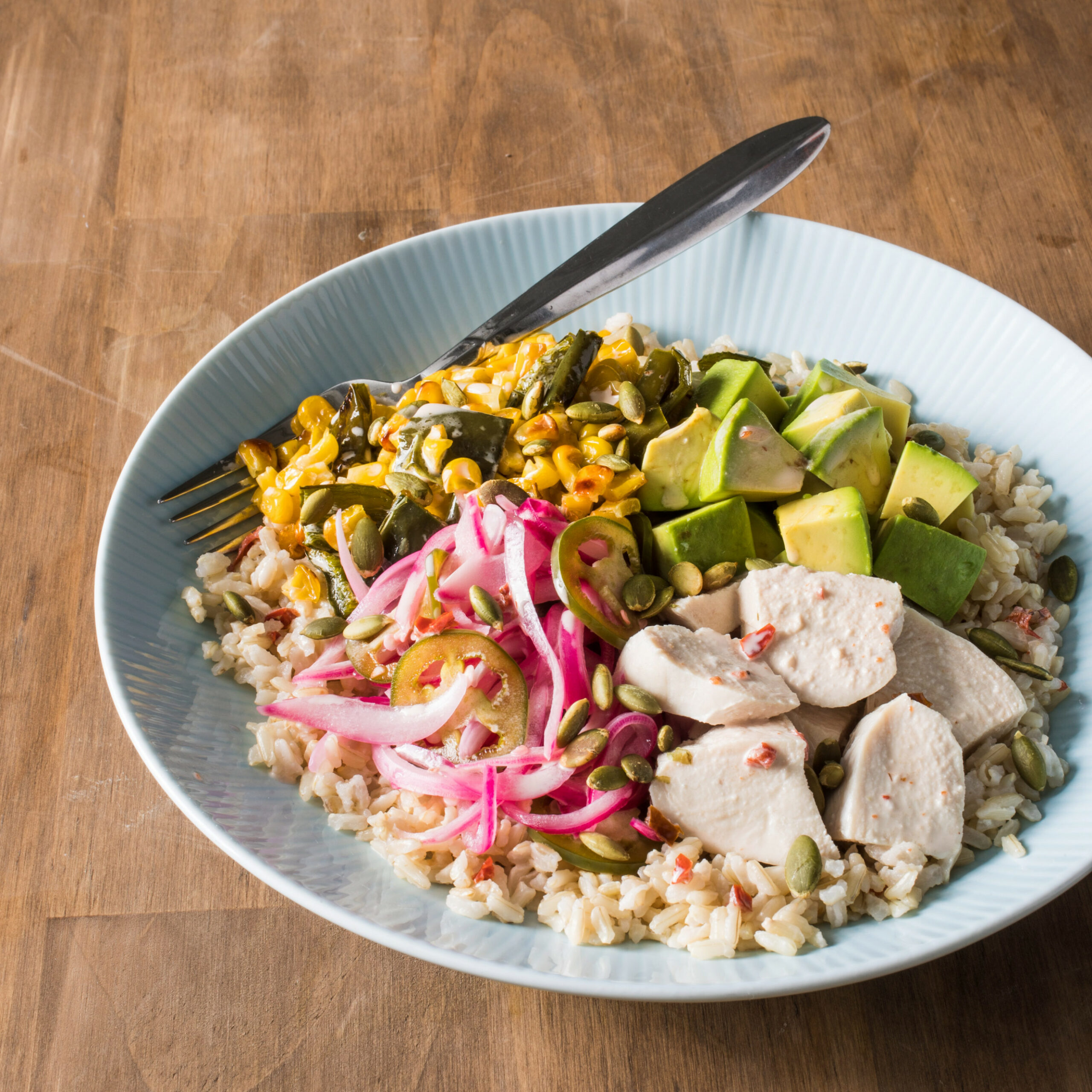 Southwestern Brown Rice Bowl with Vegetables and Chicken - rice bowl recipes vegetarian