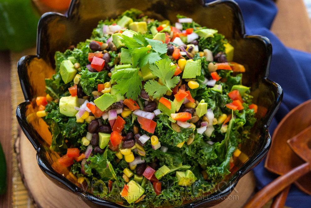 Southwestern Kale Salad - quick vegan recipes dinner