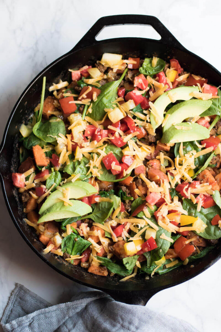 Southwestern Sweet Potato and Beef Skillet - recipes ground beef healthy