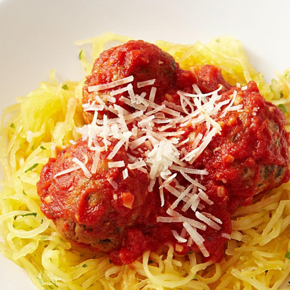 Spaghetti Squash & Meatballs Recipe - EatingWell - recipes spaghetti squash healthy
