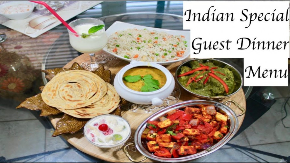 Special Indian Dinner Menu For Guest With Full Recipes ..