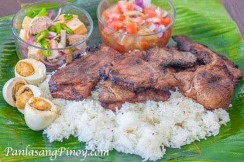 Special Pinoy Pork Chop Binalot Lunch Combo Meal Recipe - dinner recipes filipino