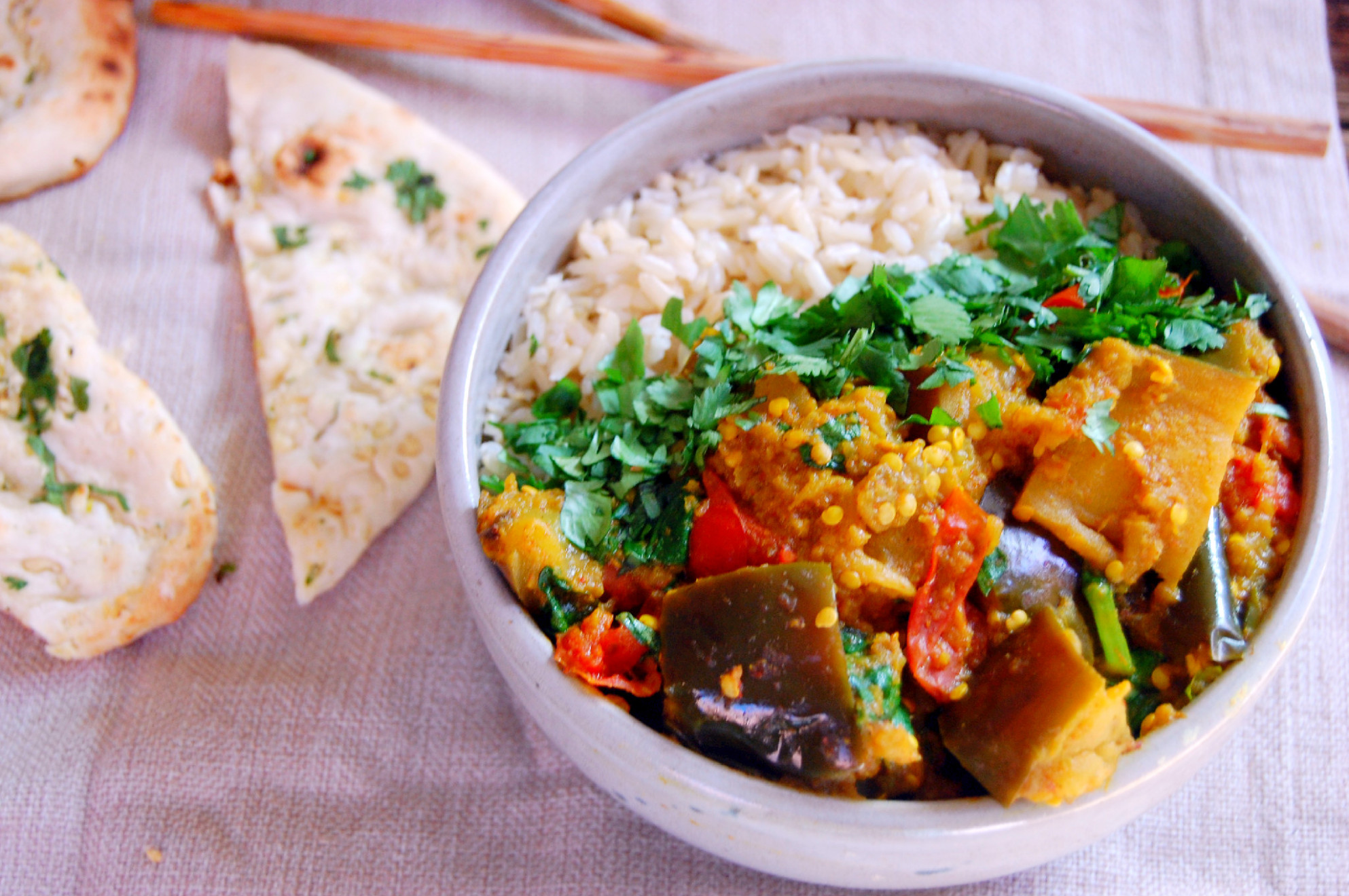 Spiced Indian Eggplant Curry - recipe vegetarian yellow curry