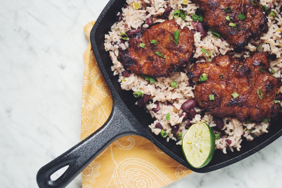 spiced rum jerk sunchokes with rice & beans | hot for food - jerk recipes vegetarian