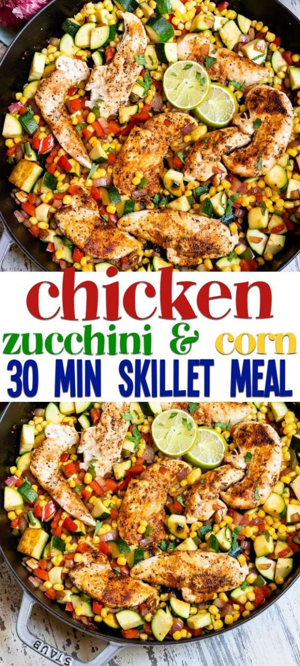 Spicy Chicken Dinner (12 minute meal) - Crazy for Crust - dinner recipes using zucchini