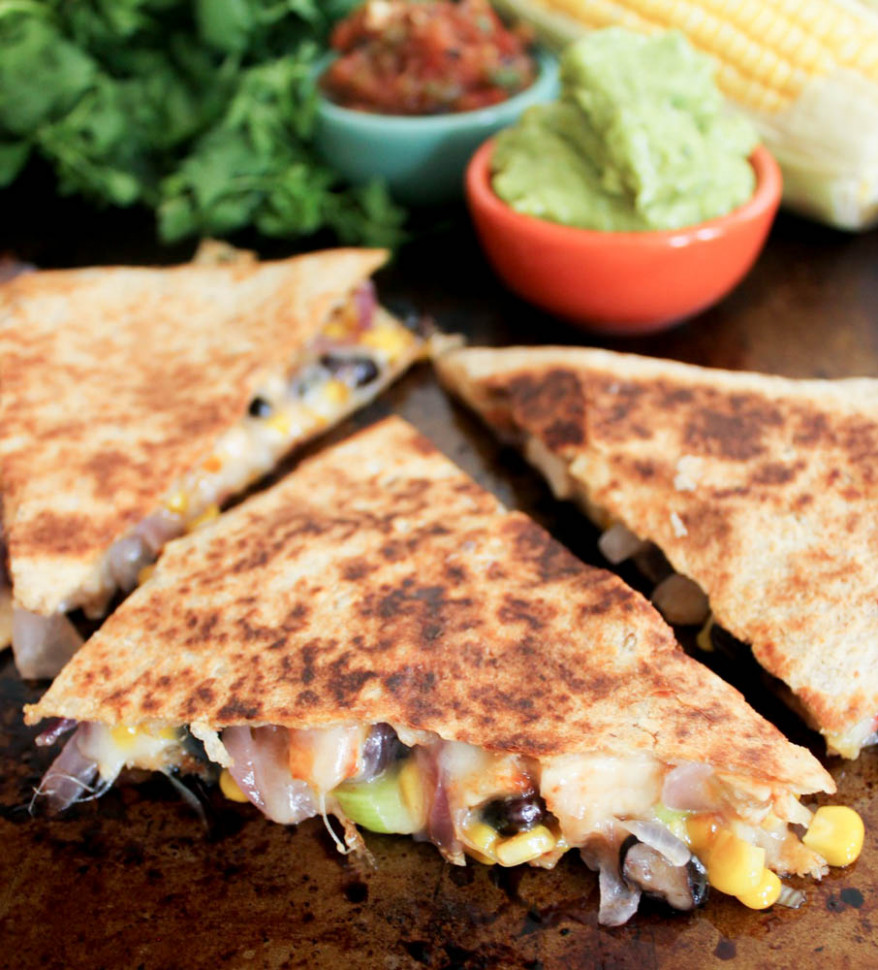 Spicy Chicken Quesadillas with Corn, Black Beans, and Caramelized Onions - quesadilla recipes chicken