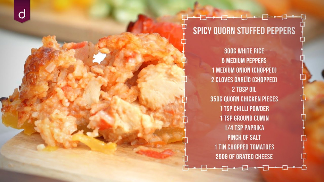 Spicy Quorn Stuffed Peppers - Andrew James Skill School - Recipes Quorn Chicken Pieces