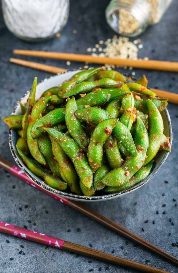 Spicy Sambal Edamame Appetizer - Peas and Crayons - quick finger food recipes