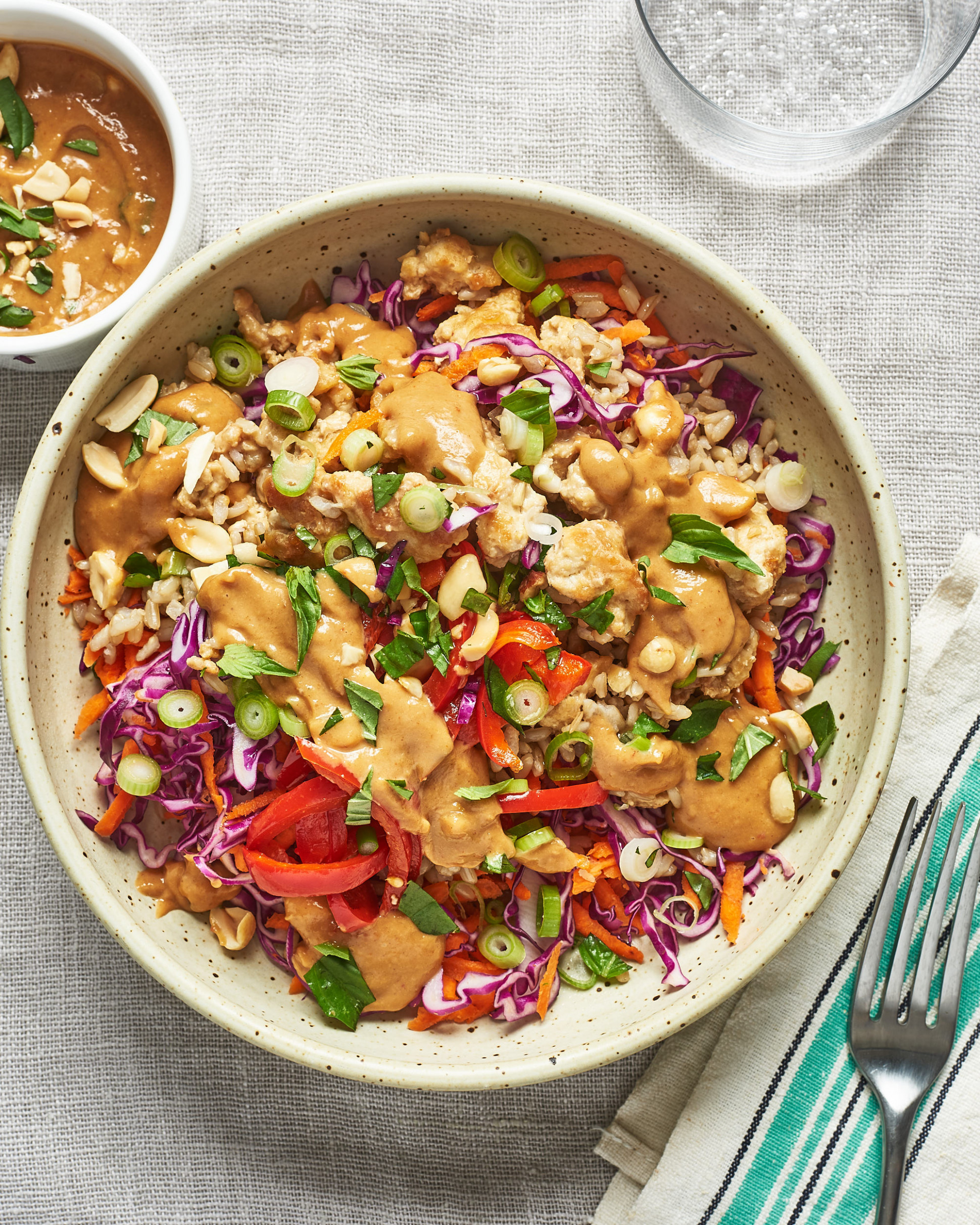 Spicy Thai Chicken and Brown Rice Bowls - vegetarian rice bowl recipes