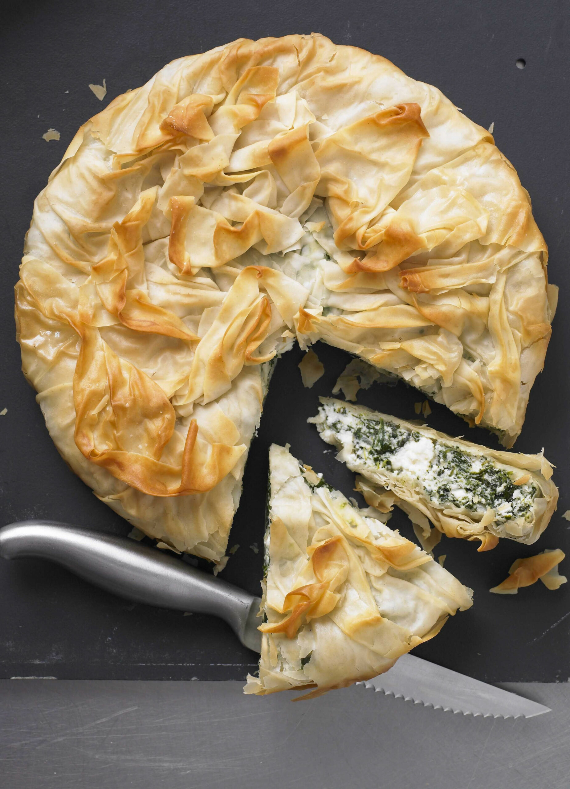 Spinach And Ricotta Filo Pie - Recipes Vegetarian Pies