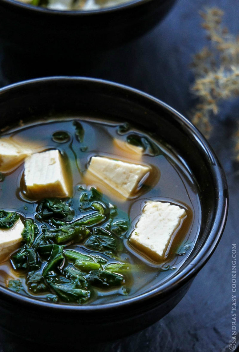 Spinach and Tofu Soup - Sandra's Easy Cooking - recipes dinner rolls