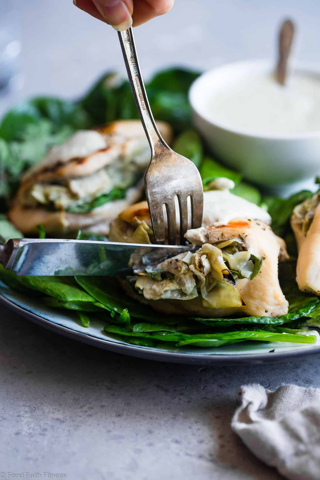 Spinach Artichoke Greek Yogurt Chicken | Food Faith Fitness - greek yogurt recipes dinner