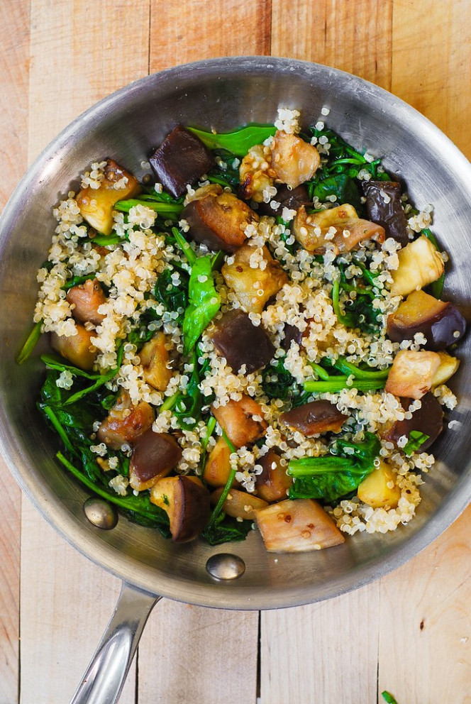 Spinach, Eggplant, and Feta Quinoa - recipes with eggplant healthy