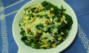 Spinach Gratin with Pecorino Toscano and Pine Nuts