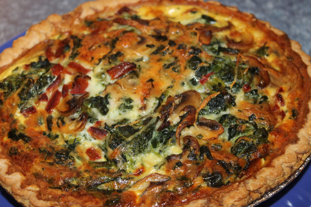 Spinach Mushroom Quiche - recipe vegetarian quiche spinach