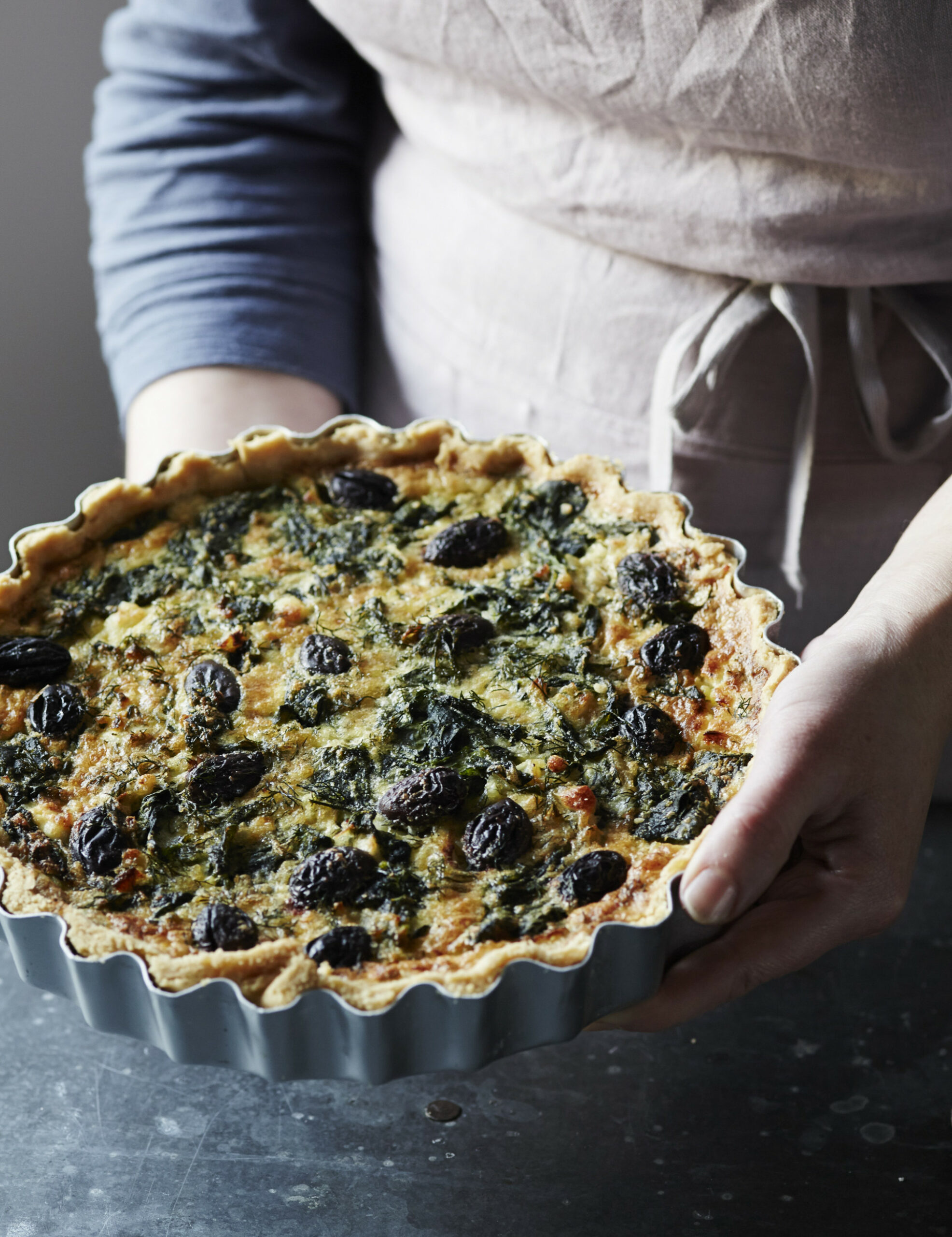 Spinach, Olive & Feta Tart Vegetarian Recipe - olive recipes vegetarian