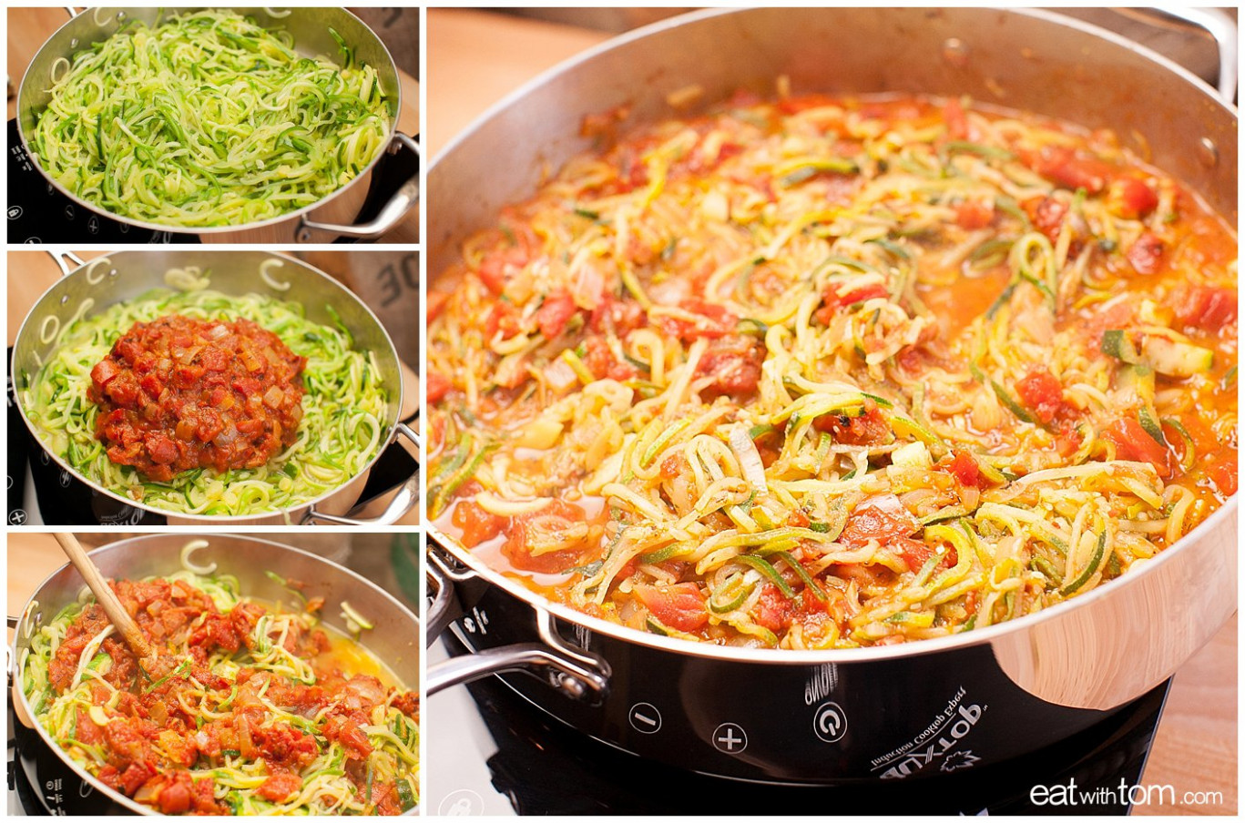 "Spiralized Zucchini with Fresh Spaghetti Sauce – Paleo ""Noodles"" - zucchini noodle recipes vegetarian"