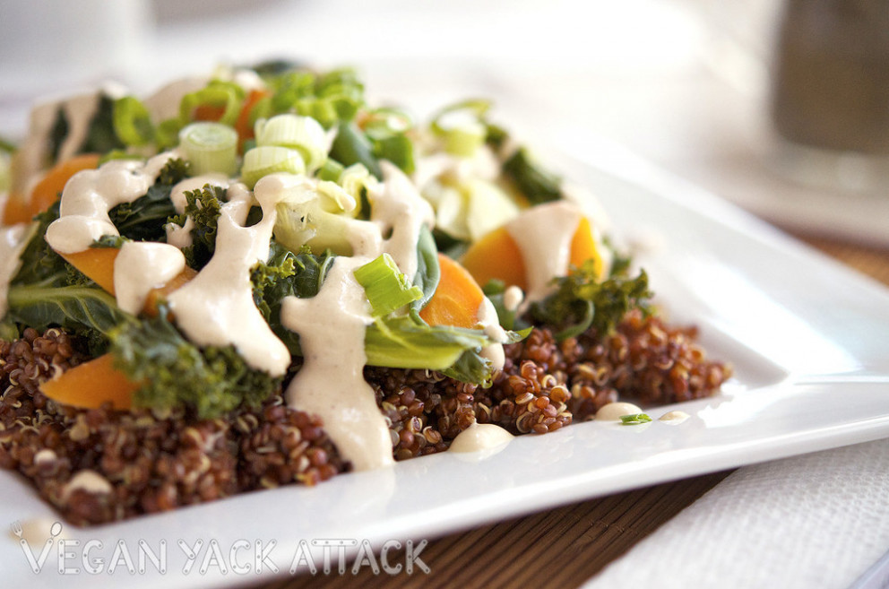 Steamed Veggies with Quinoa & Sesame Ginger Dressing - recipes salad dressings healthy
