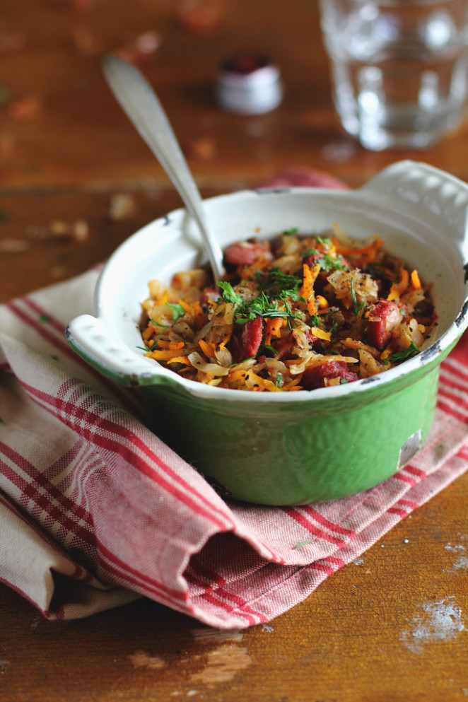 Stewed Cabbage with Lentil and Sausages - sausage recipes dinner