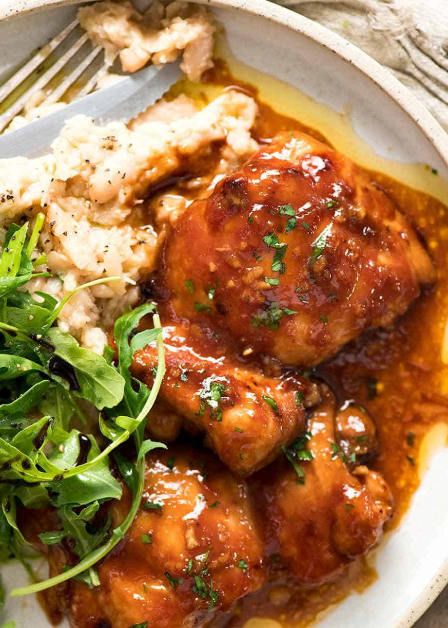 Sticky Baked Chicken Thighs - chicken recipes chicken recipes